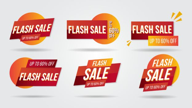 Flash sale discount lebel collection banner and icons corners, labels, curls and tabs.Shopping tags new collection offers isolated.