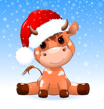A small calf sits in a Santa hat in the snow. Winter background with snowflakes.