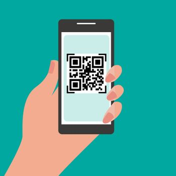 Hand holding mobile phone with QR code on the screen. Scan QR code to phone.  Electronic digital payment with smartphone. Vector flat design.