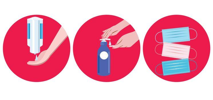 Coronavirus prevention medical surgical masks, hand using alcohol gel and sanitizer dispenser for hygiene to fight against Coronavirus.