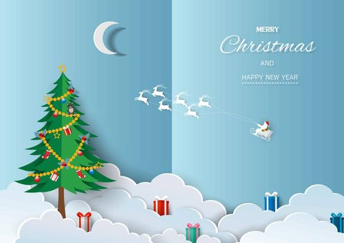 Merry Christmas and Happy new year greeting card,Santa Claus with friends happy on winter background,vector illustration