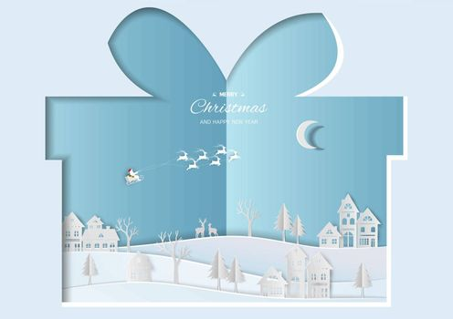 Merry Christmas and Happy new year greeting card,Santa Claus flying over village on paper cut background,vector illustration