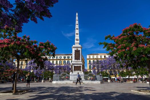 Malaga, Spain - May 23, 2019: Monument in the middle of the Plaza de La Merced, one of the main squares in the city centre.