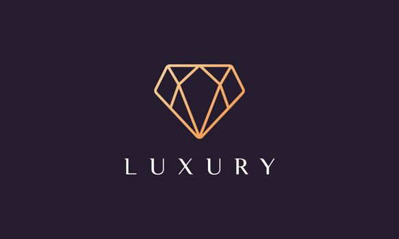 luxury diamond logo shaped simple and modern with gold color