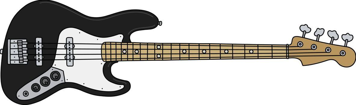 The black electric bass guitar