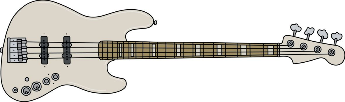 The white electric bass guitar