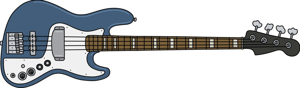 The blue electric bass guitar