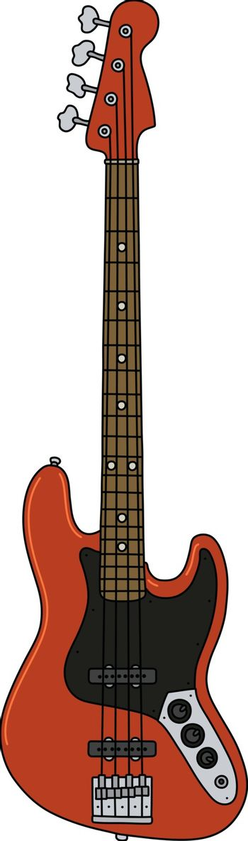 The red electric bass guitar