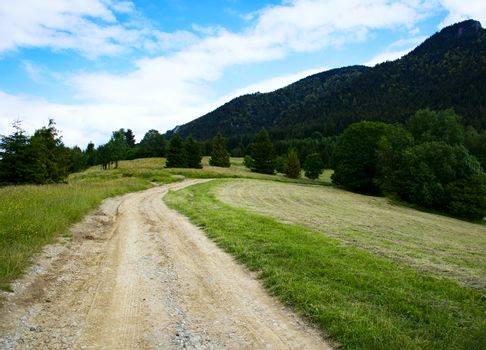 seasonal nature background field path to the mountains