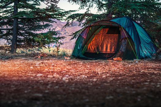 Tent in the Cedars Forest in Tannourine Mountains. Peaceful Outdoors Weekend. Active Lifestyle. Amazing Nature of Lebanon.