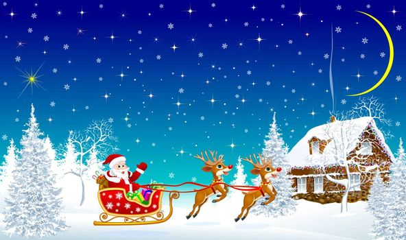 Santa on his sleigh with reindeer in front of a village house. Night. The sky with stars. Snowflakes, snow.