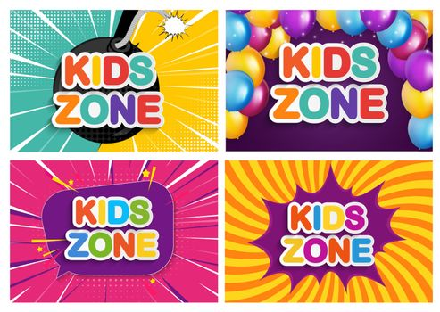 Kids zone banner for Children game, party, posters, play area, entertainment, education room.Vector Illustration EPS10