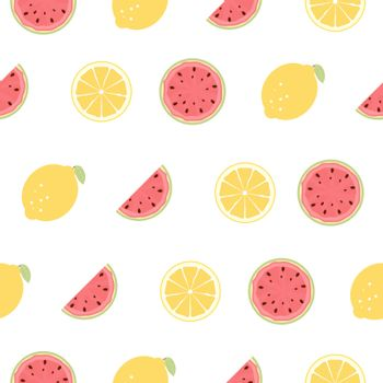 Seamless Pattern with Lemon and Watermelon Fruits. Vector Illustration EPS10
