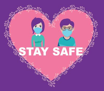 Man and woman wearing surgical mask. Preventing an epidemic, healthy care concept. Stay safe on heart shape engraving vector illustration.