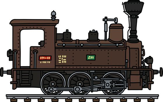 The old brown small steam locomotive