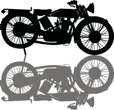 The black silhouette of a vintage motorcycle
