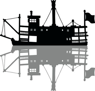 the black silhouette of a vintage steamer