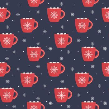 Hot chocolate seamless pattern winter snowflake Background. Vector Illustration EPS10