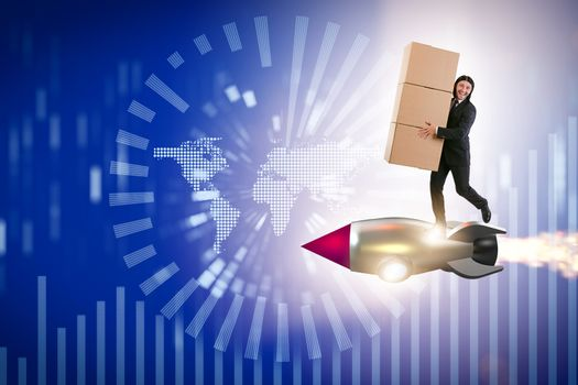 Businessman in global worldwide delivery service