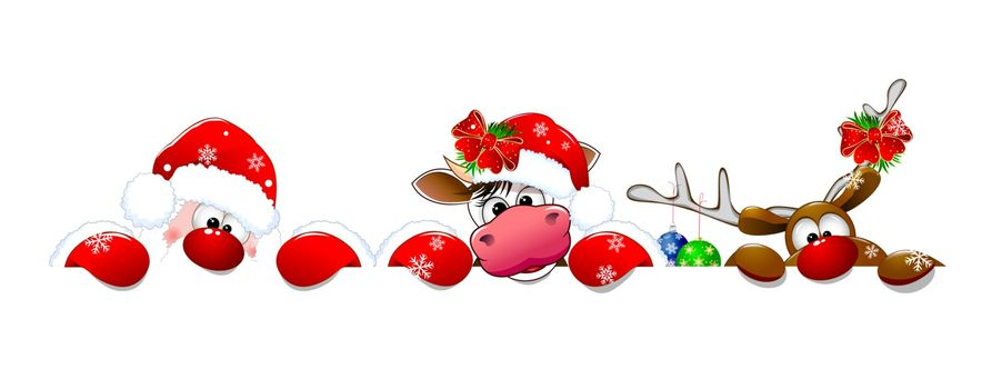 Santa Claus, deer and cow on a white background. Christmas cartoon characters are dressed in a Santa hat and decorated with Christmas decorations.