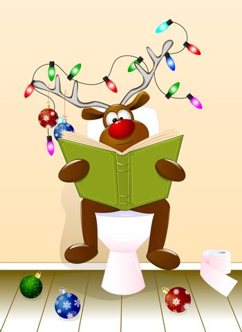 A cartoon deer reading a book sitting on a toilet bowl. The antlers are decorated with Christmas balls and a luminous garland. Holiday Christmas.