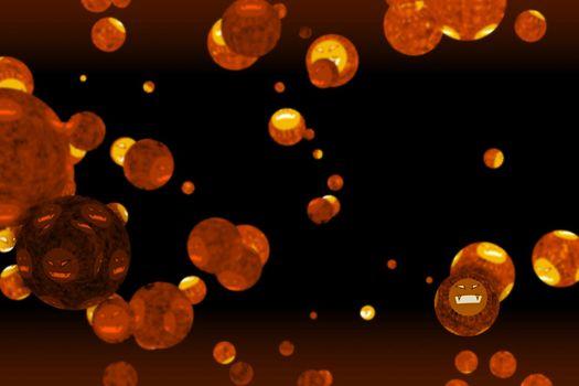 virus covid ball was mutation to evil face dark orange