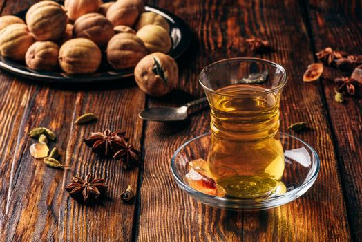 Oriental tea with spices in armudu glass
