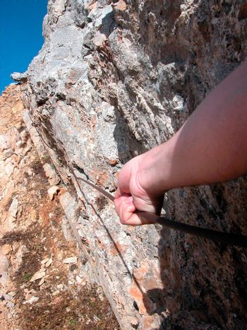 via ferrata or fixed rope route for hiking in the mountains