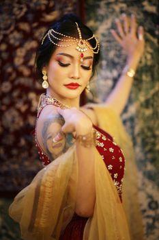 beautiful women sari costume portrait.