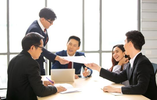 Multiethnic diverse group of business coworkers in team meeting discussion