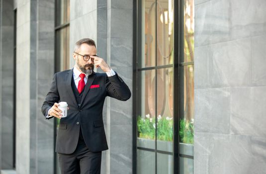 Bearded hipster businessman or Businessman hipster with stylish beard portraits.