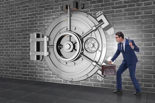 Man with gun stealing money from bank