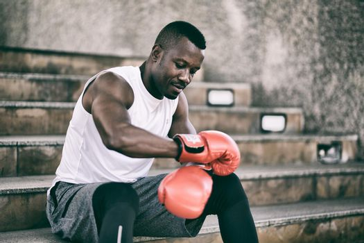 young athlete people with boxing gloves, exercise in fitness gym