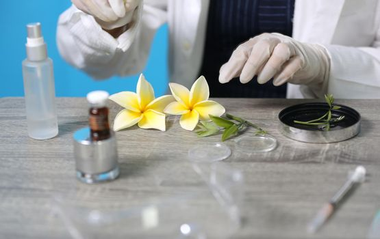 Biochemistry specialist experiment on Natural organic botany and scientific glassware, Alternative herb medicine, Natural skin care beauty products, Research and development concept