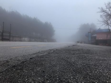 It depicts foggy air in the rural town