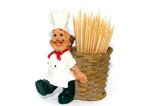 A cook with a basket full of toothpicks