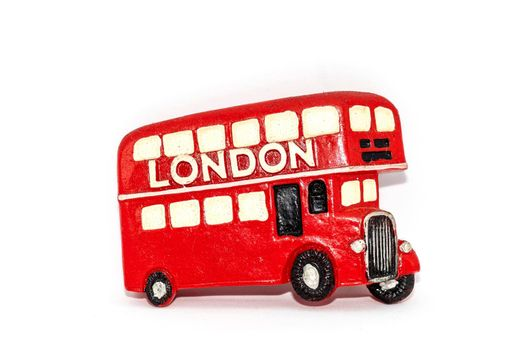A souvenir magnet with the London bus