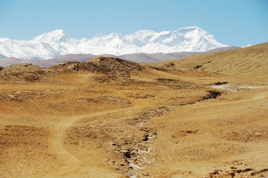 Mountains of the Himalayas, young beautiful high mountains of Tibet.