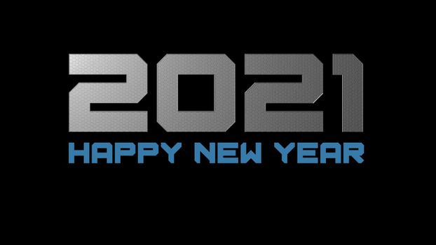It depicts a digitally generated image of 2021 number on black background