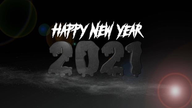It depicts a digitally generated image of 2021 number on black background, it can be used for horror fans