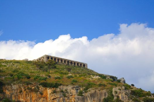 Ruins of the roman temple of Jupiter Anxur, in Terracina, Italy.