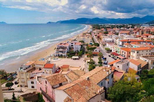 Town of Terracina, Italy. Elevated view of the beach.