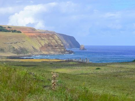 The nature of Easter Island, landscape, vegetation and coast.