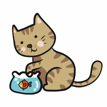 Tabby cat play with fish in fishbowl cartoon vector illustration