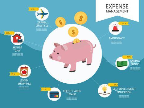 Piggy coin, expense management infographic vector illustration