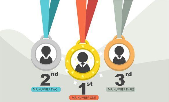 Gold medal reward 1st 2nd 3rd vector illustration