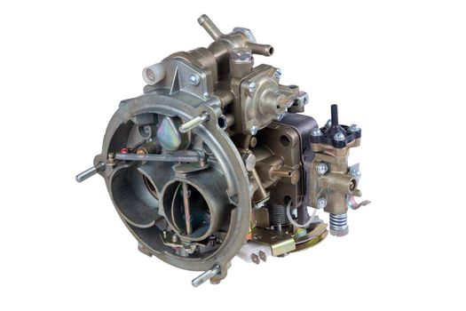 The carburetor of the internal combustion engine of the car isolated on white background