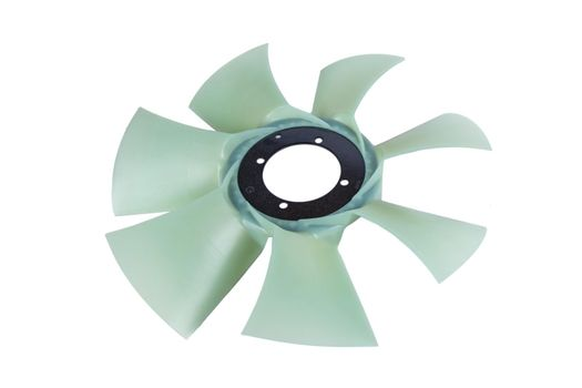 new car cooling fan with plastic blades radiator fan on white background. Car thermal clutch. radiator fan cooling on white background