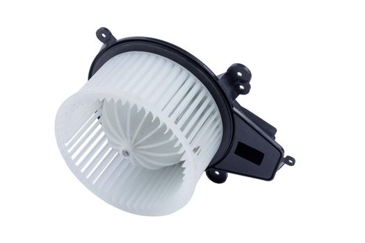 Heater fan - spare part and element of car air conditioning system on white isolated background. Auto service industry. Spare parts catalog.