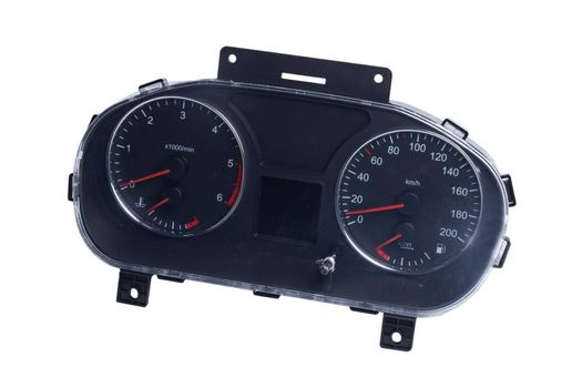 Car dashboard, close-up dashboard with visible speedometer, tachometer and fuel gauge